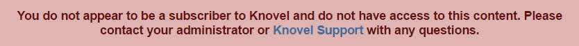"Error message reading ""You do not appear to be a subscriber to Knovel."""