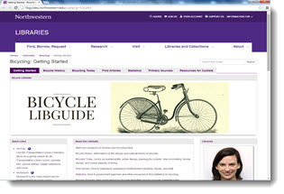 Screen capture of Bicycling Guide by Rachal Cole, Northwestern Univerisity.