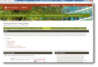 Screen capture of Using TRID guide, Portland State University.