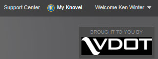 Knovel login screen showing VDOT logo and patron name.
