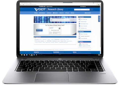 Color image of the new VDOT Research Library web site on a laptop computer.
