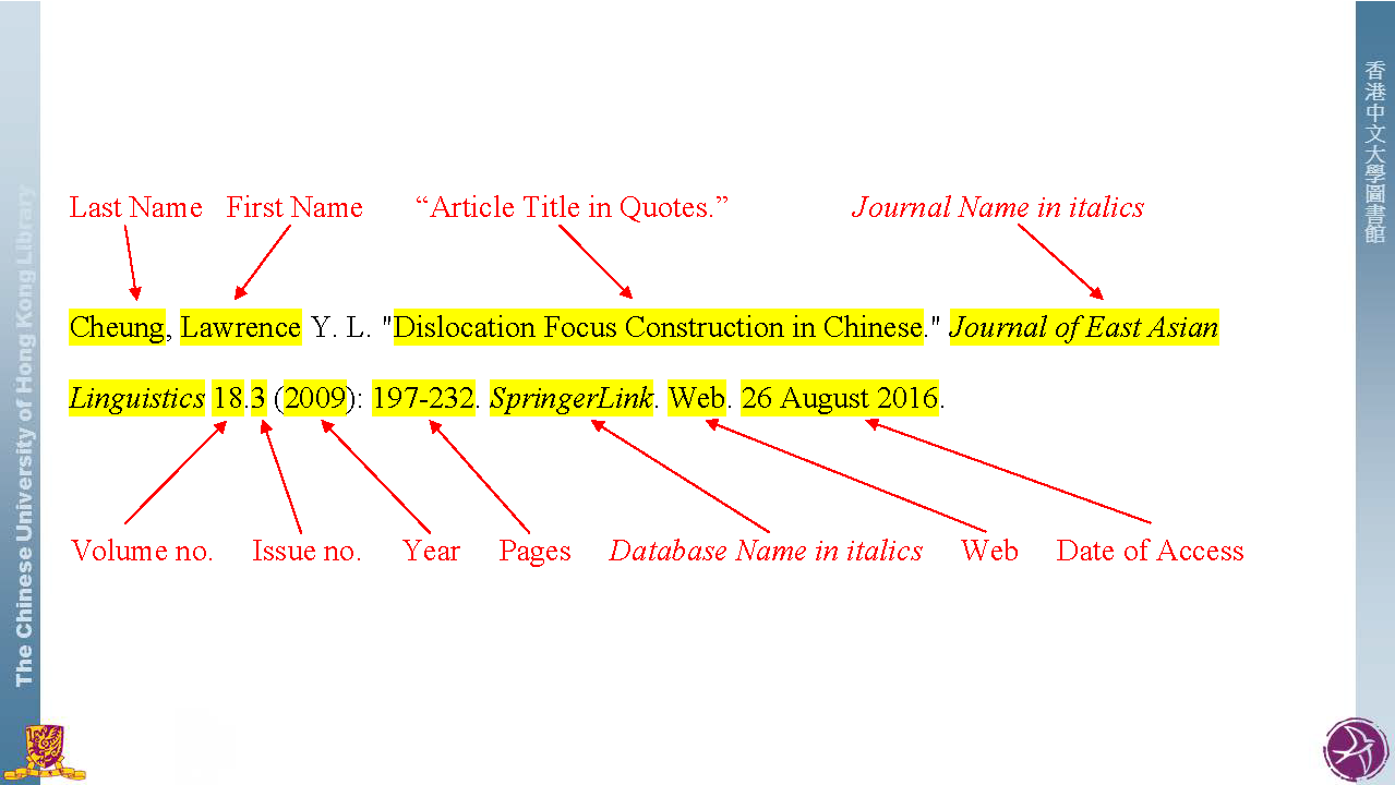 Mla Style Citation Styles Libguides At The Chinese