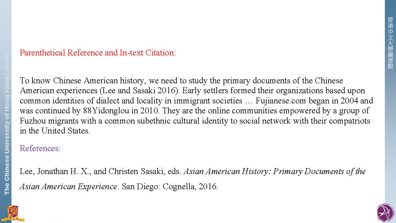 Parenthetical Reference and In-text Citation