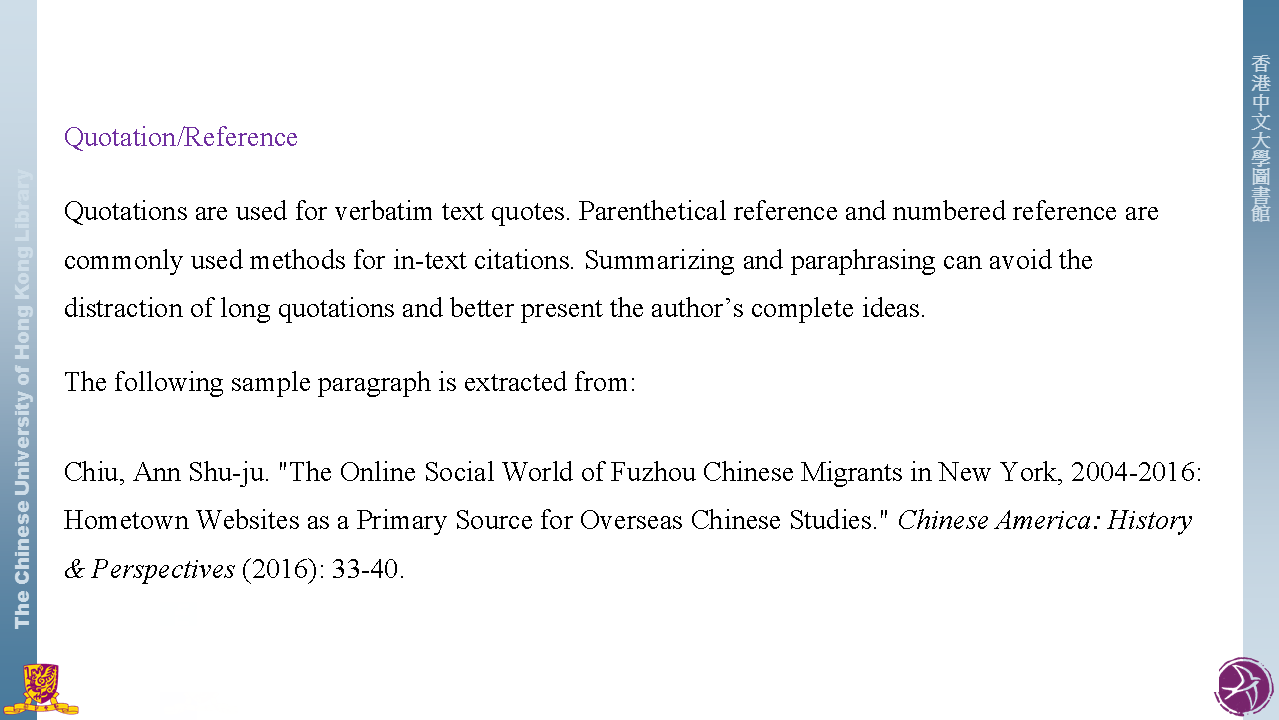 quotation reference citation styles libguides at the chinese
