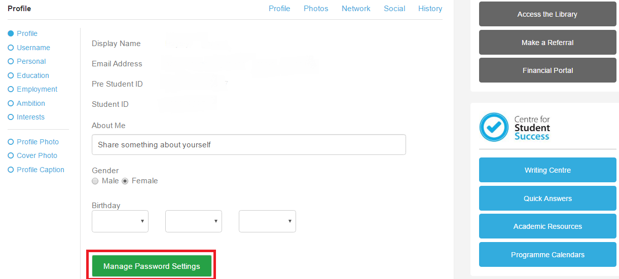 Next click Manage Settings.