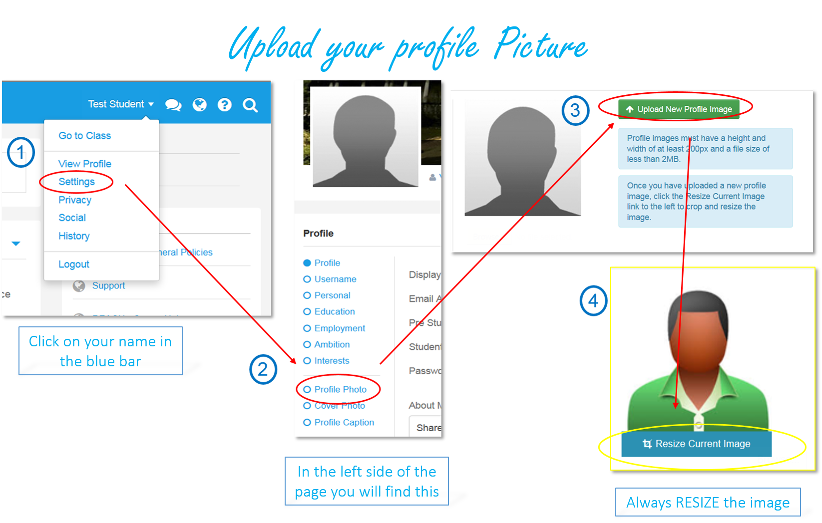 """To select a profile photo, select """"Settings"""" in the drop-down menu underneath your name. Select """"profile photo"""" and then """"upload photo."""""""