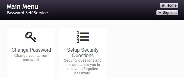 """Select """"Change Password"""" or """"Set up security questions"""" to proceed."""