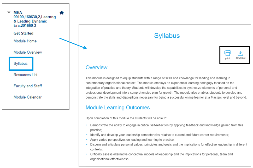 To download your syllabus, click syllabus in the left hand navigation menu and then the download or print option.