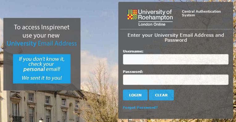 Enter your Inspirenet credentials.