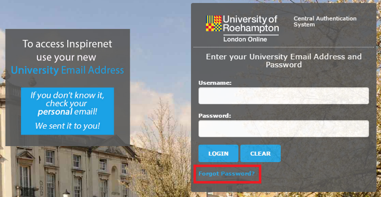 """Click """"Forgot password"""" on the Inspirenet login page."""
