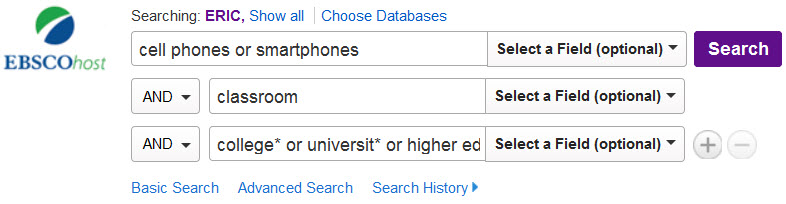 Search terms: cell phones AND classroom AND (college* or universit* or higher education)