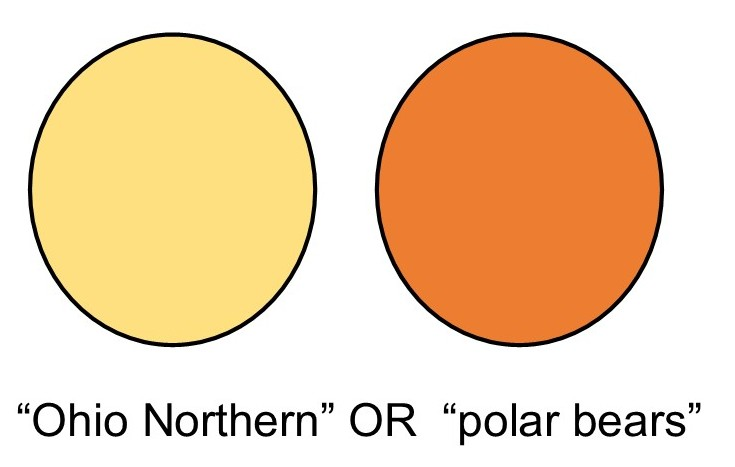 "illustration of two circles with space in between and words ""Ohio Northern"" OR ""polar bears"""