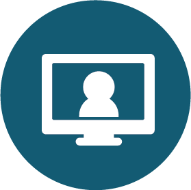 computer screen icon for virtual meeting