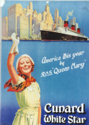 Cunard RMS Queen Mary poster