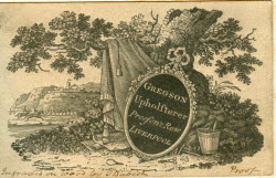 "Gregson tradecard showing fabric draped over tree and sign which reads ""Gregson Upholsterer"""