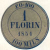 "Image of proposed British decimal currency disc, reading ""£0-100 1 Florin 1854 100 Mils"", 1854"