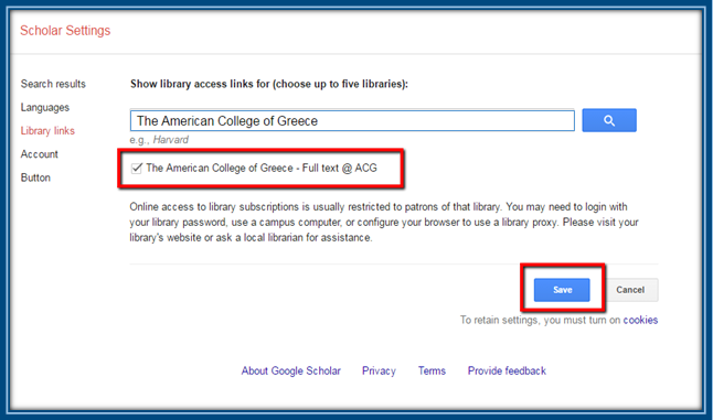 how to set up library links in google scholar