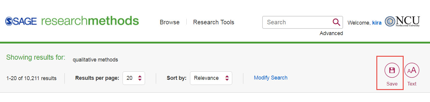 SAGE Research Methods screenshot with the Save icon highlighted.