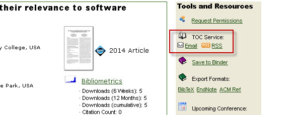 ACM Digital Library screenshot with the TOC tool highlighted.