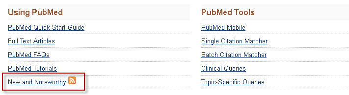 "PubMed screenshot with the ""New and Noteworthy"" link highlighted."