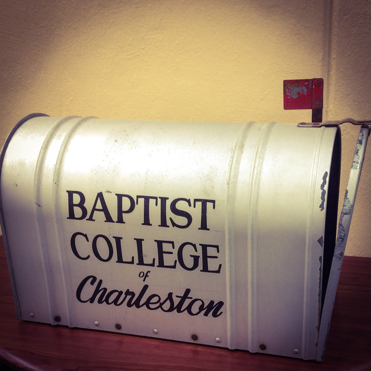 Photo of mailbox from original Baptist College of Charleston