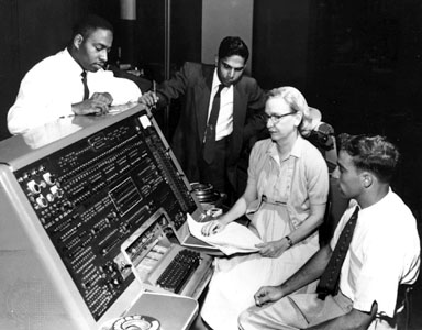 Grace Hopper with UNIVAC keyboard