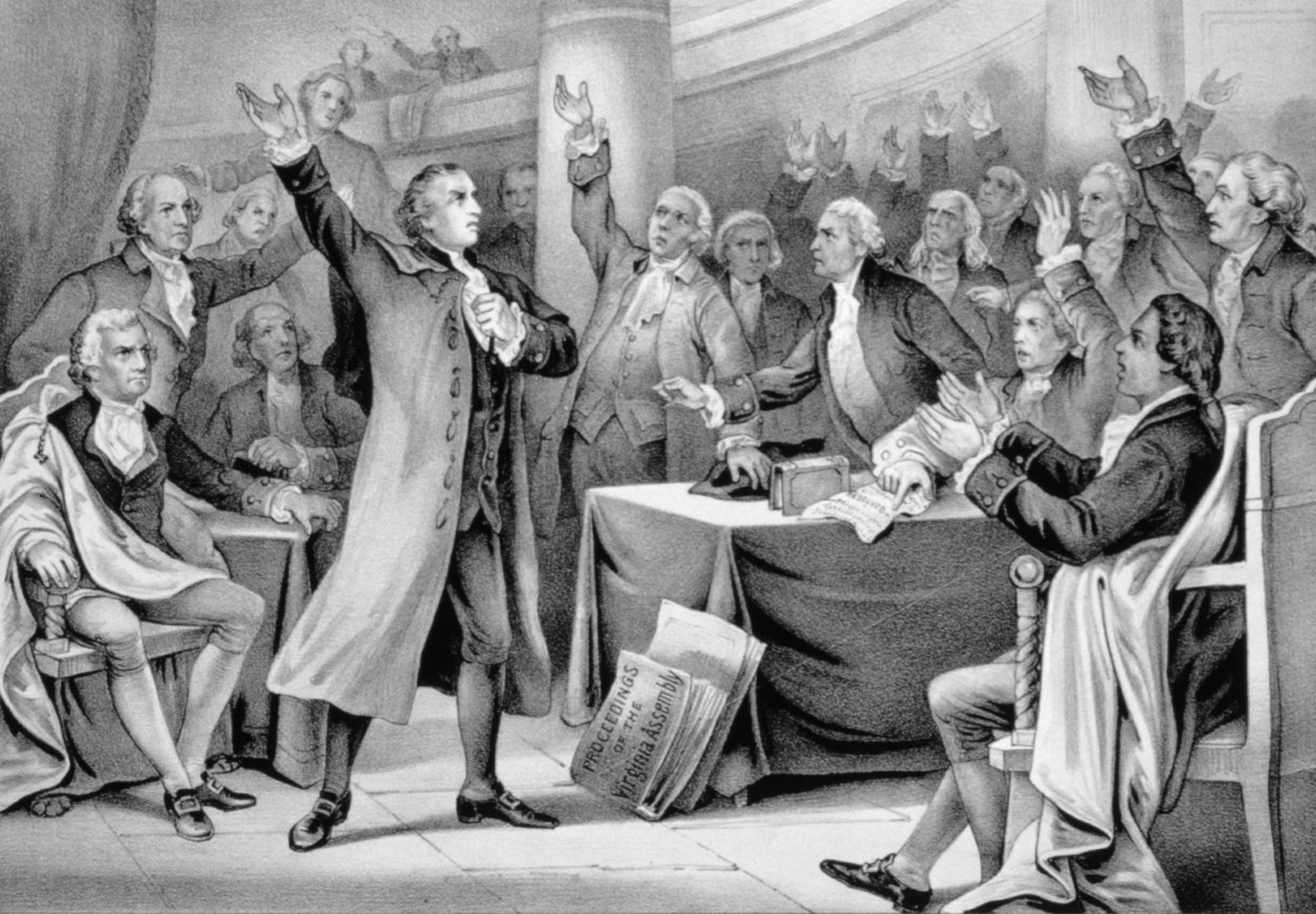 drawing of man in American colonial dress delivering speech to other men