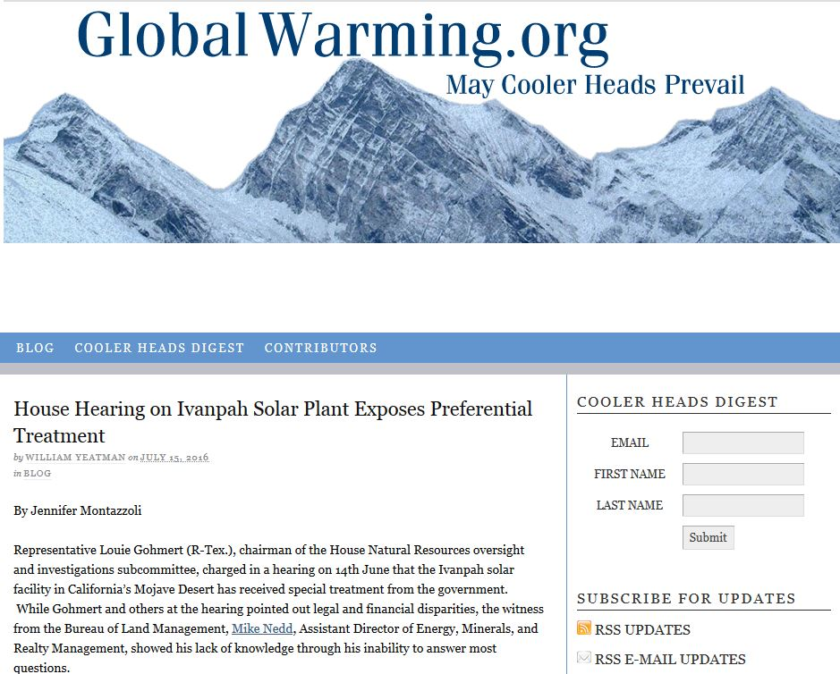 screen shot of the home page for globalwarming.org
