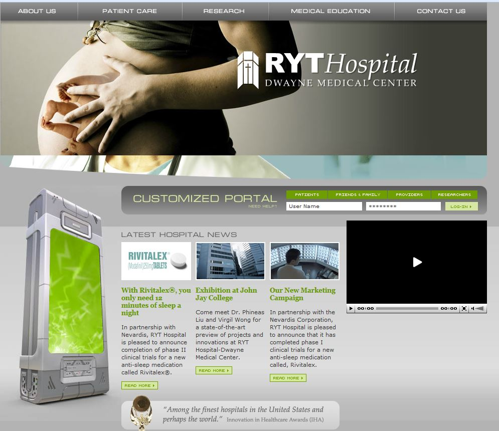 screen shot of the home page for ryt hospital website