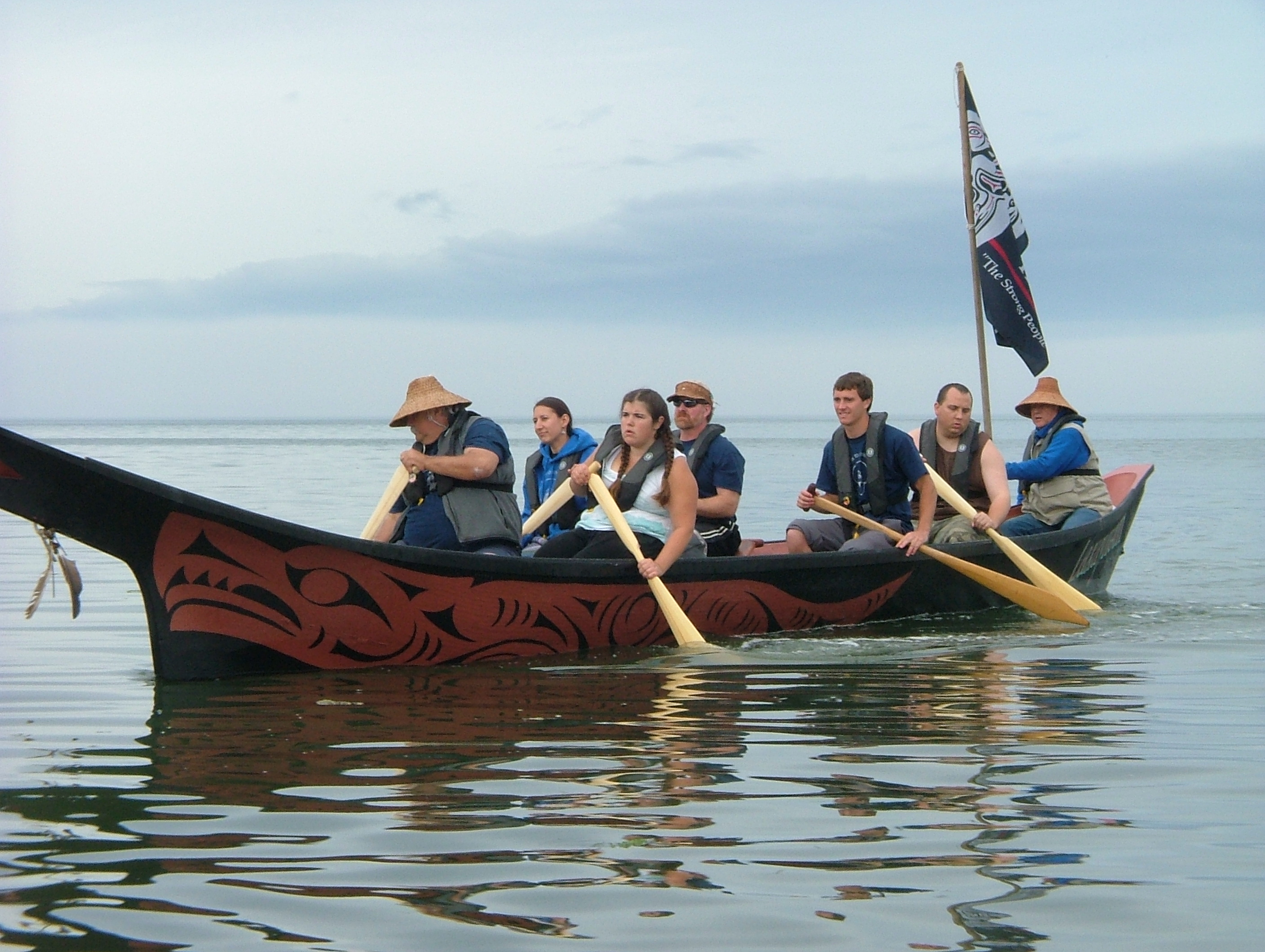 Intertribal canoe journey arrival, 2007