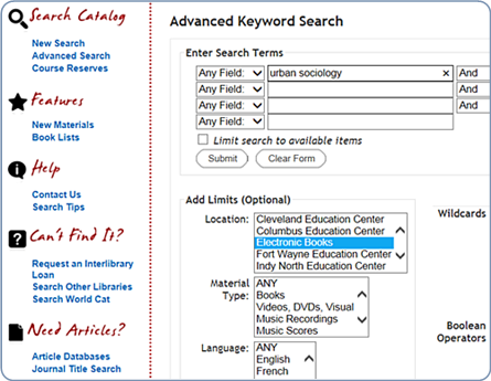 Advanced Catalog eBook Search