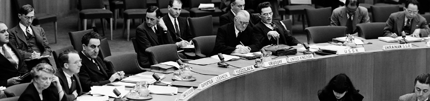 Commission of Human Rights of the United Nations Economic and Social Council  At portion of table during the first meeting of the Commission on Human Rights of the United Nations Economic and Social Council are: left to right: Mrs. Franklin D. Roosevelt, United States, chairman; Prof. John P. Humphrey, Canada, Director of the Division of Human Rights of the UN Department of Social Affairs and Secretary of the Commission; Dr. Charles Malik, Lebanon, Rapporteur; Charles Dukes, United Kingdom; Valentin F. Topliakov, USSR, and General Carlos P. Romulo, Philippine Republic. (27 January 1947 United Nations, Lake Success, New York)