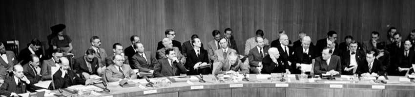 Atomic Energy Commission of the United Nations  Partial view of the Council table shows: Dr. Eelco N. van Kleffens, the Netherlands; Dr. Oscar Lange, Poland; Andrei A. Gromyko, USSR; Sir Alexander Cadogan, United Kingdom; Bernard M. Baruch, United States; Mr. Lie; Arkady Sobolev, United Nations Assistant Secretary-General in charge of Security Council Affairs, and Dr. Herbert V. Evatt, Australia.  (14 June 1946 Hunter College, New York)