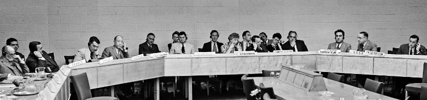 Drafting Committee on International Bill of Rights General view of the Drafting Committee on International Bill of Rights of the Human Rights Commission, taken during its second session on 11 June 1947. At center is Mrs. Eleanor Roosevelt, USA, Chairman. Third from rights is Dr. Charles Malik of Lebanon, Rapporteur, and fourth from left is Dr. P.C. Chang of China, Vice-Chairman. 11 June 1947 United Nations (Lake Success), New York