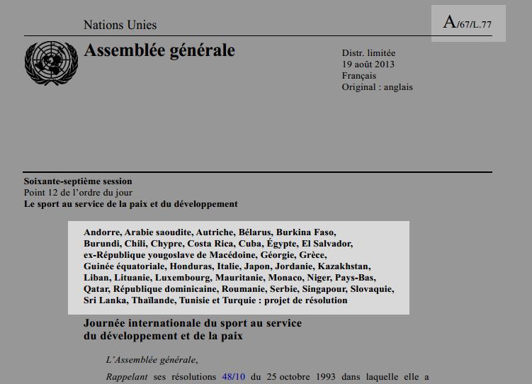 Montre où figurent les auteurs et coauteurs sur un projet de résolution soumis à l'Assemblée plénière.