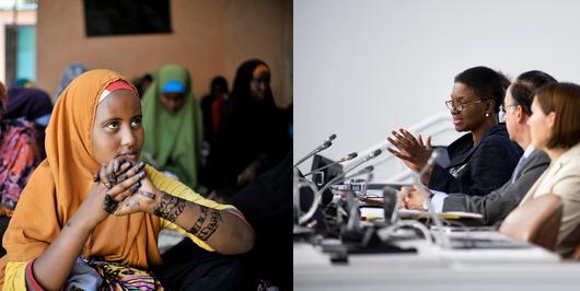 """إلى اليسار: فتاة في مركز صحة الأمومة والطفولة في مقديشيو، الصومال، أثناء زيارة قامت بها زينب بانغورا، الممثلة الخاصة للأمين العام المعنية بالعنف الجنسي في حالات النزاع. إلى اليمين: عقد المجلس الاقتصادي والاجتماعي حلقة نقاش عن موضوع """"إقامة الشراكات من أجل تقديم المساعدة الإنسانية على نحو فعال دعما للجهود الوطنية والإقليمية والدولية''"""