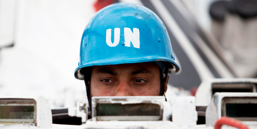 UN Peacekeeper with blue helmet