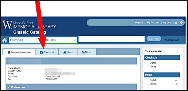 Online Renew Checkout Tab