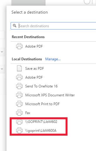 Change printer to 600 or 602