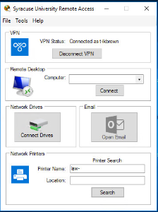 Options: VPN; Remote Desktop; Network Drives; Email; Network Printers