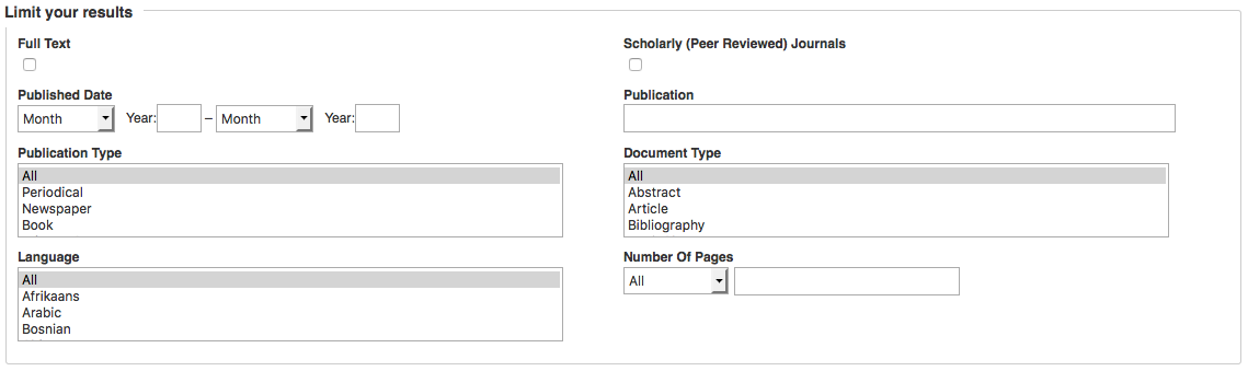 Image of the limiting options available in EBSCO advanced search.