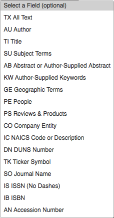 Image of the search fields available in EBSCO advanced search.
