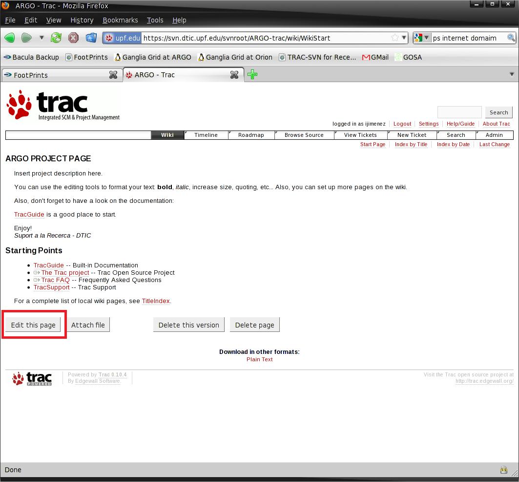 Trabajando con el software intermedio TRAC - Subversion - Manual de ...
