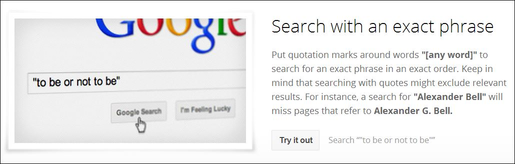 Screenshot Google Search Tips Quotations