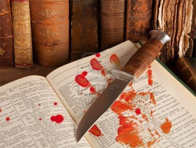 bloody knife and book
