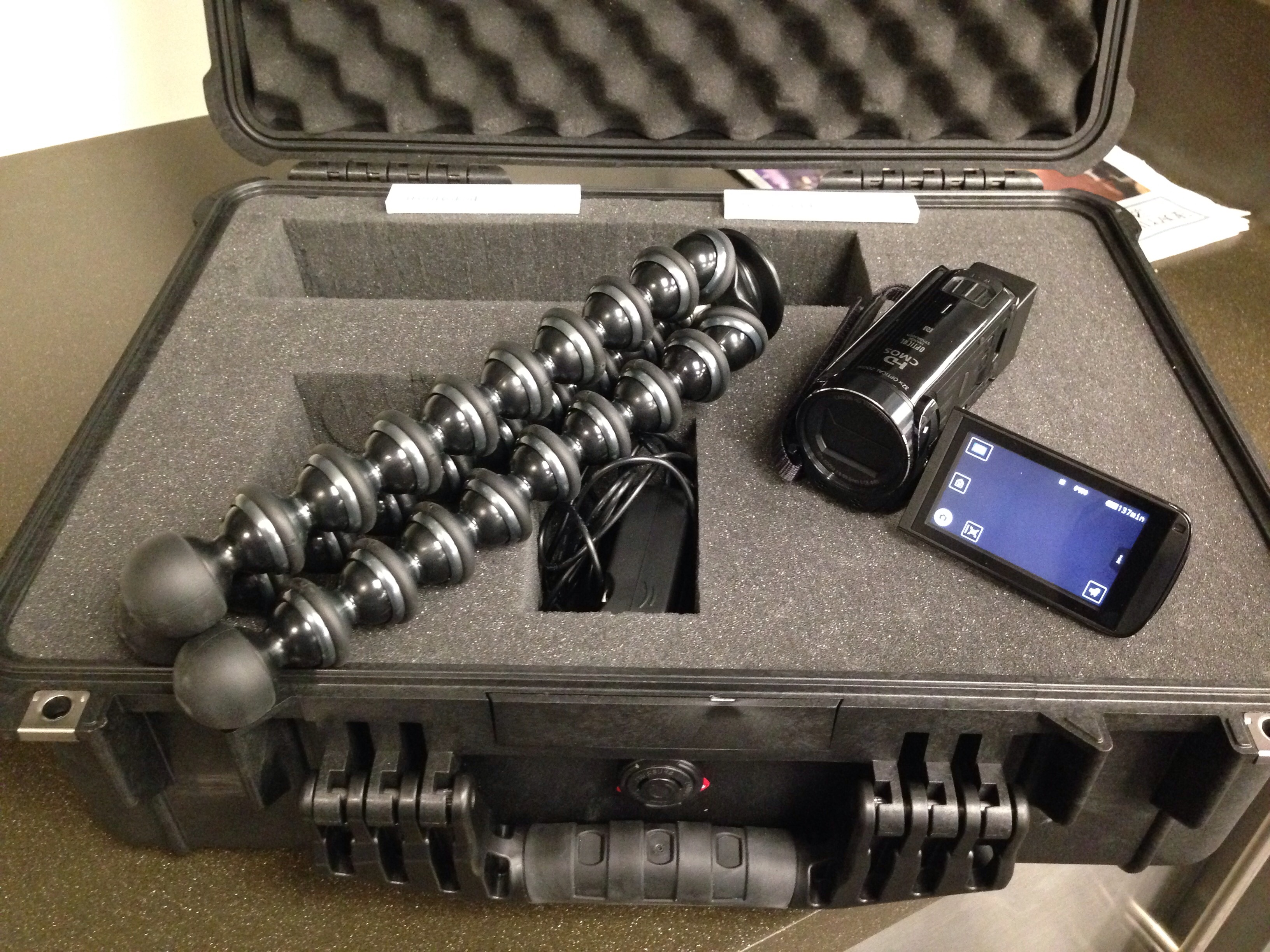 "Pelican Hard Case Kit with Canon HF-R72 camera and Joby ""GorillaPod"" Flexible Tripod"
