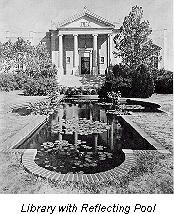 Historic photograph of the Library and the reflecting pool that used to be in front of it.