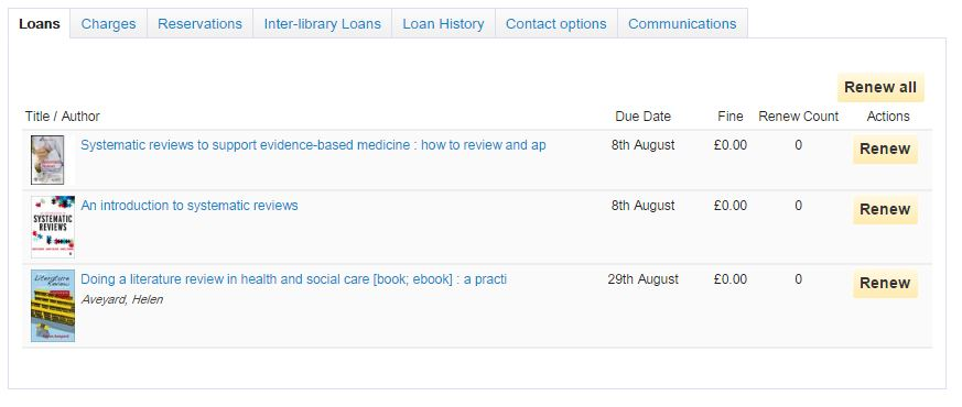 Screens shot of an example My Account showing the Loans screen