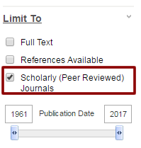 Illustration - peer review filter in Ebsco