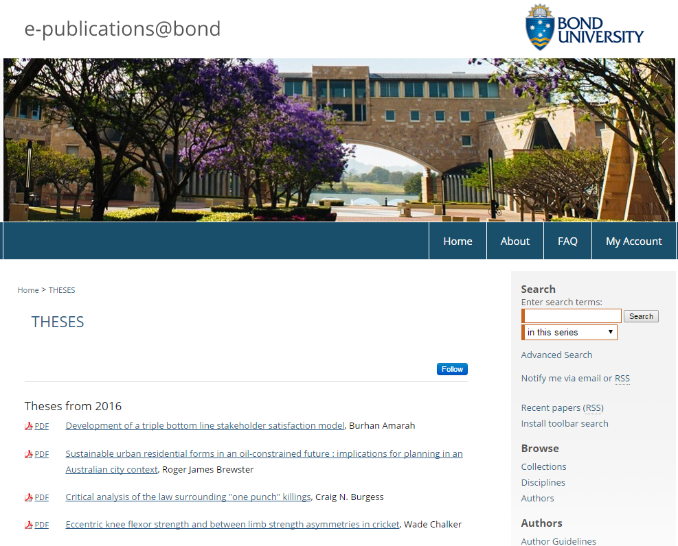Screenshot - epublications@bond repository